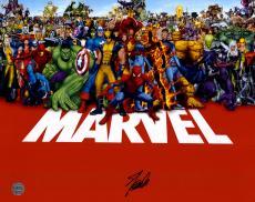 "Stan Lee Autographed 16"" x 20"" Marvel Universe Photograph with Black Ink - Stan Lee Hologram"