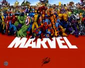 "Stan Lee Autographed 16"" x 20"" Marvel Universe Photograph with Black Ink - BAS COA"