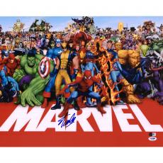 "Stan Lee Autographed 16"" x 20"" Marvel with All Characters Photograph - PSA/DNA"