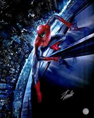 "Stan Lee Autographed 16"" x 20"" Spider Man Movie Building Photograph with Silver Ink - Stan Lee Hologram"