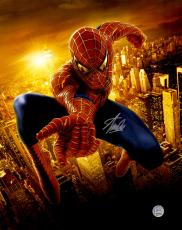 """Stan Lee Autographed 16"""" x 20"""" Spider Man Skyline Photograph with Silver Ink - BAS COA"""