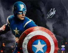 Stan Lee Autographed 16x20 Captain America Horizontal Photo- JSA Witnessed Auth
