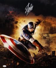 Stan Lee Autographed 16x20 Captain America Throwing Shield *Silver Photo JSA Aut