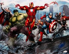Stan Lee Autographed 16x20 Avengers In Action *Blue Photo- JSA W Authenticated