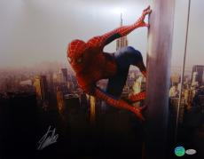 Stan Lee Autographed 16x20 Spider Man On Pole Photo- JSA Witnessed Auth