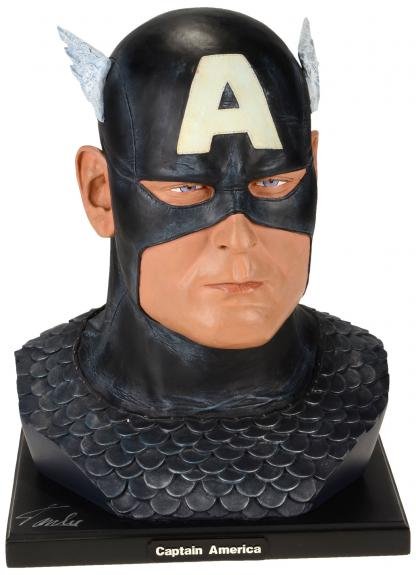 Stan Lee Autographed Alex Ross 1:1 Captain America Bust with Silver Ink - BAS COA