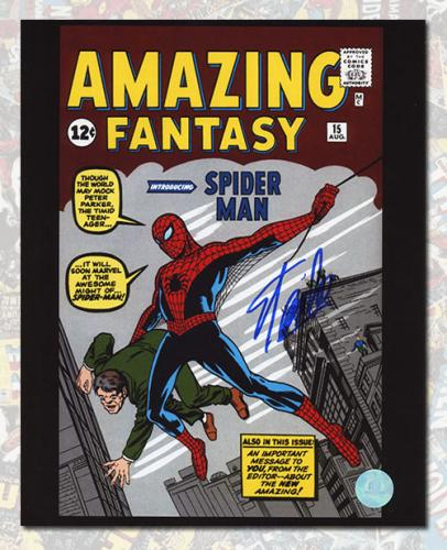 Stan Lee Autographed Amazing Fantasy #15 Spider-Man Comic Cover 11x14 Photo