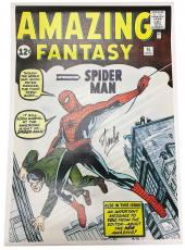 Stan Lee Autographed Amazing Fantasy Spiderman Unstretched Canvas JSA