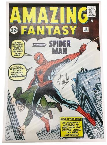 Stan Lee Autographed Amazing Fantasy Spiderman Unstretched Canvas JSA