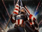 Stan Lee Autographed *Blue 16x20 Captain America Holding Flag Photo- JSA W Auth