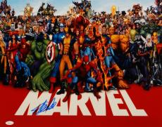 Stan Lee Autographed *Blue 16x20 Marvel Characters Red Border Photo- JSA W Auth