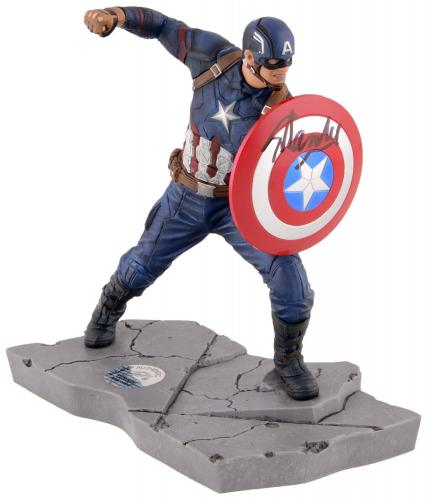 Stan Lee Autographed Captain America Mini Resin Statue with Black Ink - BAS COA