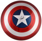 Stan Lee Autographed Captain America Replica Shield with Black Ink - BAS COA