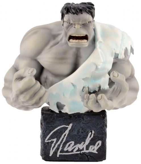 Stan Lee Autographed Classic Grey Hulk Mini Bust with Silver Ink - BAS COA