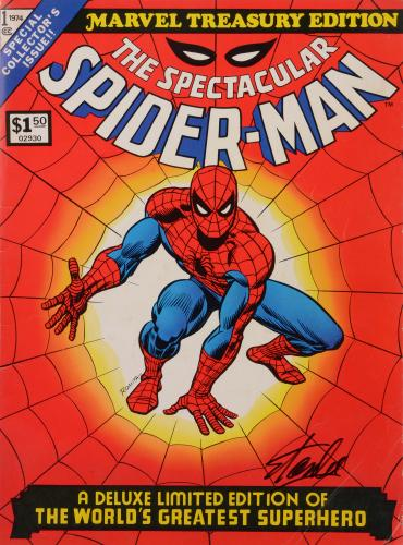 Stan Lee Autographed Comic Book 1974 Treasury Edition Spectacular Spider Man  with Black Ink - BAS COA