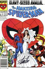 Stan Lee Autographed Comic Book 1987 Amazing Spider Man Annual #21 with Black Ink Spidey Image- Stan Lee Holo