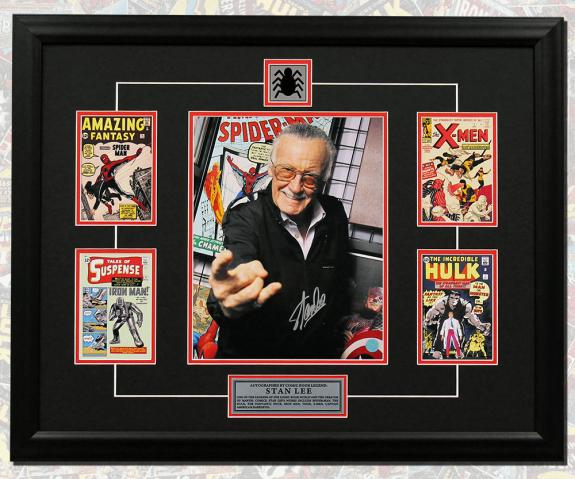Stan Lee Autographed Web Slinger Comic Book Covers Collage 26x32 Frame