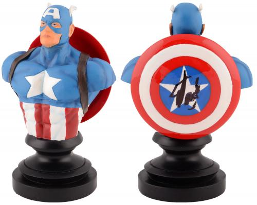 Stan Lee Autographed Marvel Icons Captain America Bust with Black Ink - BAS COA
