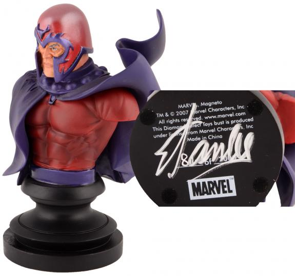 Stan Lee Autographed Marvel Icons Magneto Bust with Silver Ink - BAS COA