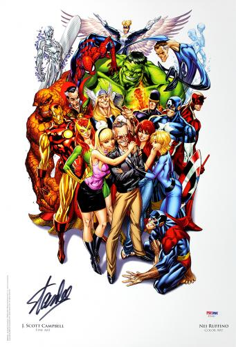 Stan Lee Autographed Marvel Universe 13x19 Photo