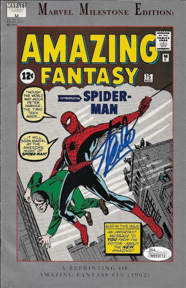 Stan Lee Autographed The Amazing Spider Man Comic Book Reprint JSA W619712