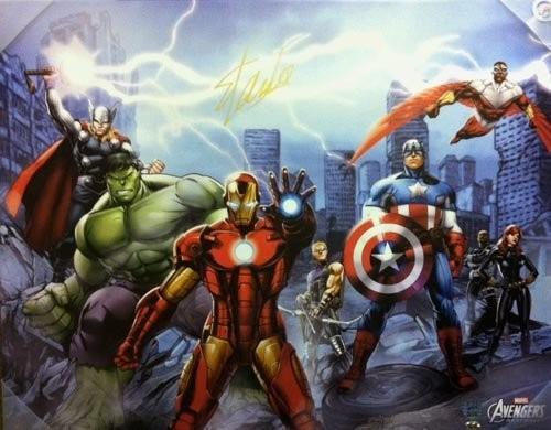 Stan Lee Autographed/Signed Avengers City Canvas 28x22 Stan Lee Hologram Marvel