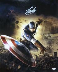 Stan Lee Autographed/signed Captain America 16x20 Photo Throw Shield 12103 Jsa