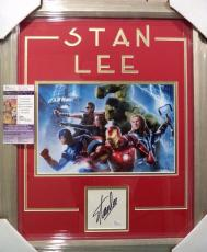 Stan Lee Avengers Signed Autographed Double Matted & Framed Jsa Coa Rare A