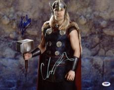 Stan Lee & Chris Hemsworth Thor Signed 11X14 Photo PSA/DNA #L68936