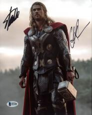 Stan Lee & Chris Hemsworth Thor Signed 8X10 Photo BAS #B51686