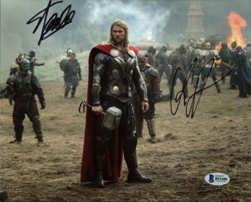 Stan Lee & Chris Hemsworth Thor Signed 8X10 Photo BAS #B51688