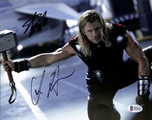 Stan Lee & Chris Hemsworth Thor Signed 8x10 Photo BAS #B51693