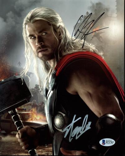 Stan Lee & Chris Hemsworth Thor Signed 8X10 Photo BAS #B71763