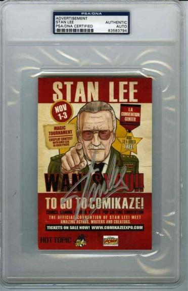 Stan Lee Comikaze! Convention 4x6 Card Autographed Signed Certified PSA/DNA COA