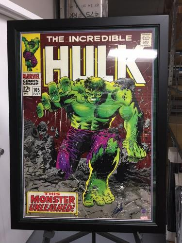 """Stan Lee Deluxe Framed, """"Autographed"""" Incredible Hulk 30""""x 40"""" Comic Book Cover"""