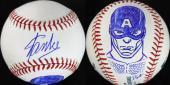 Stan Lee & Dietrich O. Smith Signed OML Baseball w/ Captain America Sketch PSA