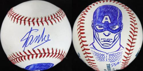 Stan Lee & Dietrich O. Smith Signed OML Baseball w/ Captain America Sketch PSA