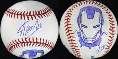Stan Lee & Dietrich O. Smith Signed OML Baseball w/ Iron Man Sketch PSA #V86814