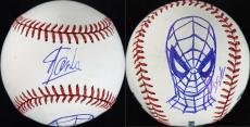 Stan Lee & Dietrich O. Smith Signed OML Baseball w/ Spider-Man Sketch PSA V86820