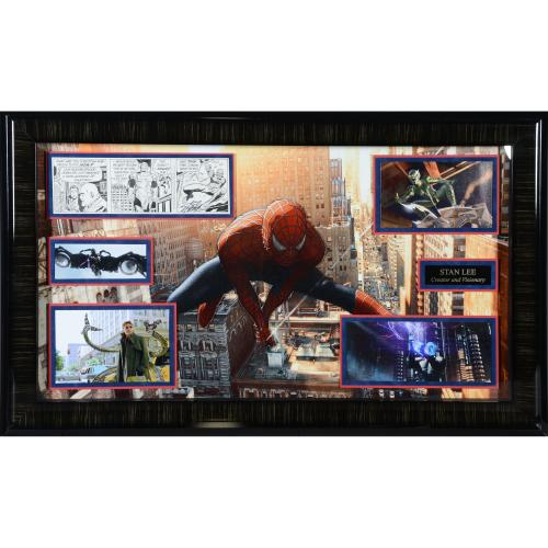 "Stan Lee Framed Auttographed 41"" x 23"" Spider Man Collage - BAS"