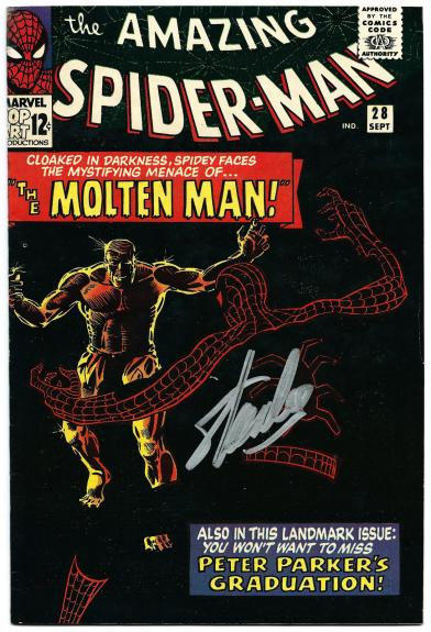 Stan Lee Hand Signed Spiderman #28 Comic Book Molten Man! Psa/dna Loa V07831