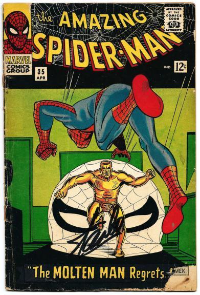 Stan Lee Hand Signed Spiderman #35 Comic Book Psa/dna Graded Gem Mint 10! V07891