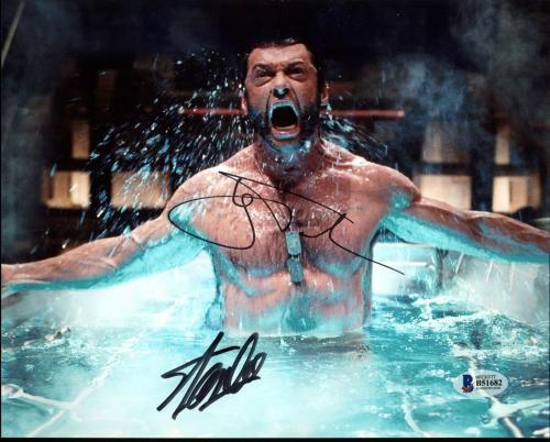 Stan Lee & Hugh Jackman X-Men Wolverine Logan Signed 8X10 Photo BAS #B51682
