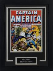 "Stan Lee Captain America Marvel Framed Autographed 12"" x 18"" Photograph - PSA/DNA"
