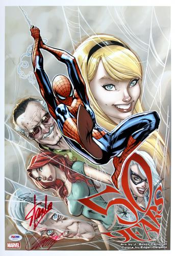 Stan Lee & J Scott Campbell Autographed Spider Man 50 Years 13x19 Photo