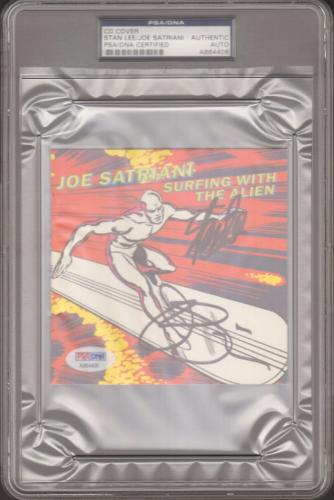 "STAN LEE & JOE SATRIANI Signed MARVEL ""Surfing With The Alien"" CD Cover PSA/DNA"