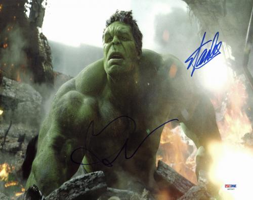 Stan Lee & Mark Ruffalo The Avengers Signed 11x14 Photo PSA #Z57207