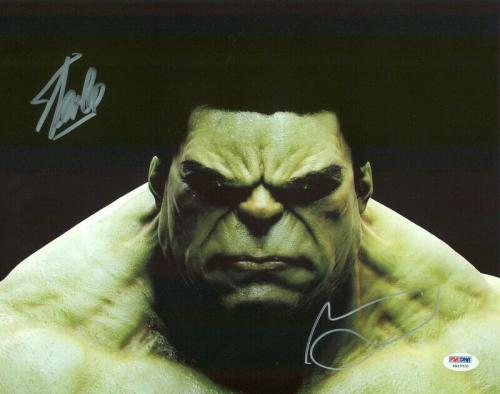 Stan Lee & Mark Ruffalo The Hulk Signed 11X14 Photo PSA/DNA #6A20531