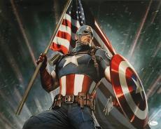 Stan Lee Marvel Comics Signed 16x20 Captain America Photo JSA