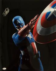 Stan Lee Marvel Comics Signed 16x20 Captain America Shield Throw Photo JSA